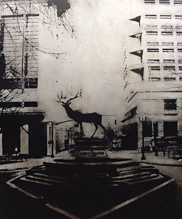 Acid etched art on steel panel of a bronze elk sculpture in Portland, Oregon by artist Garrett Price