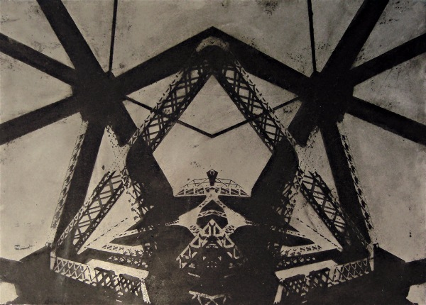 Acid etched art on steel panel of an abstract redesign of the Broadway Bridge in Portland, Oregon by artist Garrett Price