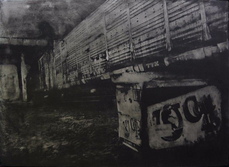Acid etched art on steel panel of train tracks in Portland, Oregon by artist Garrett Price
