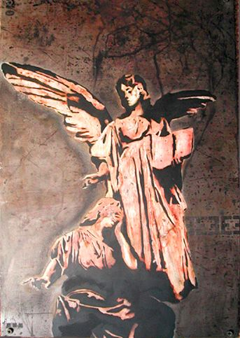 Acid etched/Spray painted art on steel panel of angelic statues by artist Garrett Price