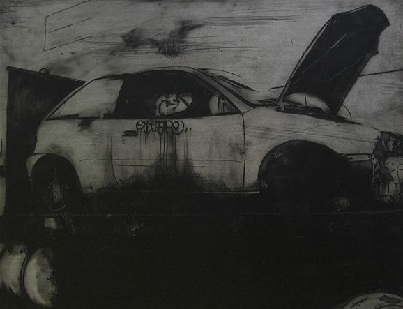 Acid etched art on steel panel of a wrecked car downtown Portland, Oregon by artist Garrett Price