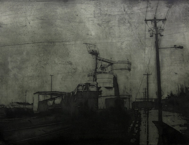 Acid etched art on steel panel of industrial architecture in Portland, Oregon by artist Garrett Price