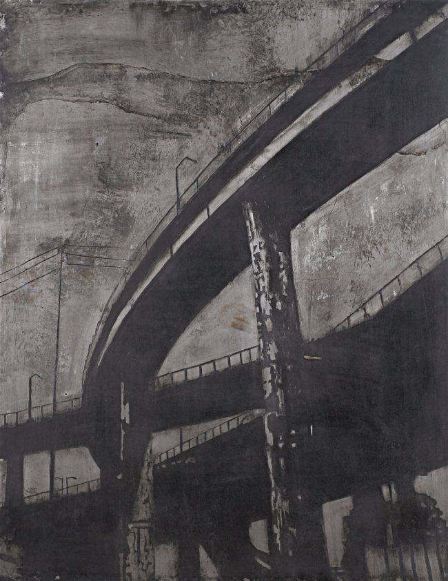 Acid etched art on steel panel of freeways overhead in Portland, Oregon by artist Garrett Price