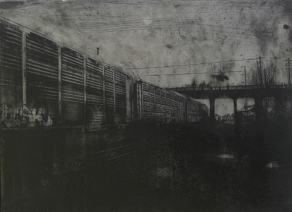 Acid etched art on steel panel of graffiti covered trains in Portland, Oregon by artist Garrett Price