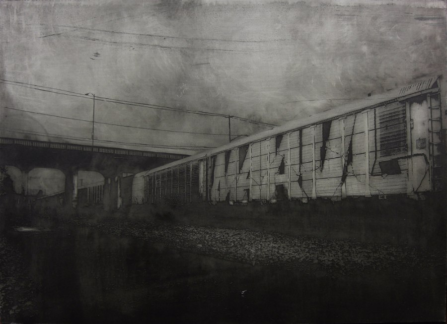 Acid etched art on steel panel of graffiti covered train cars by artist Garrett Price
