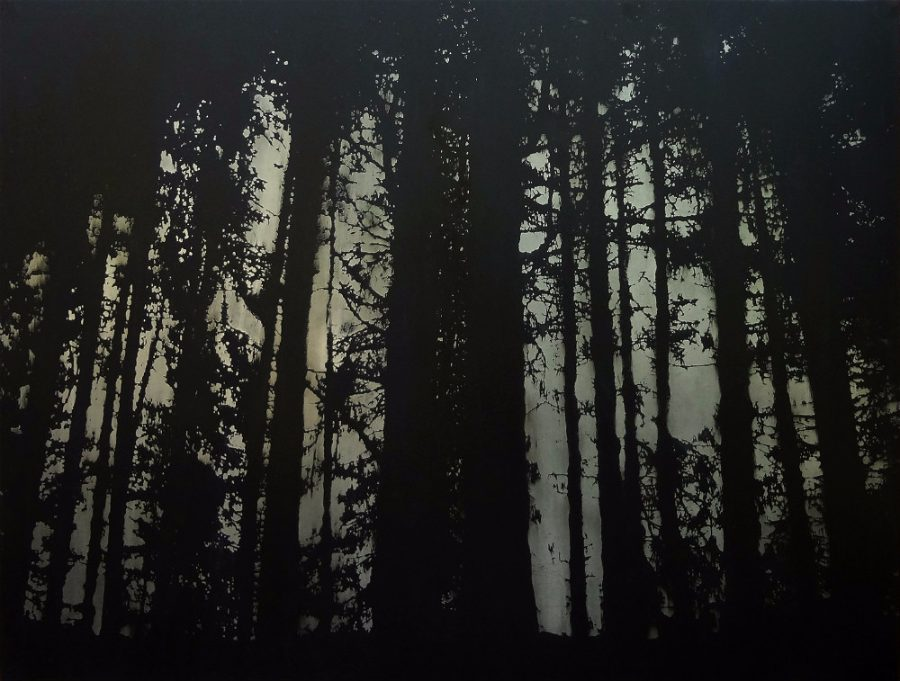 Evergreen trees acid etched art on steel panel by artist Garrett Price