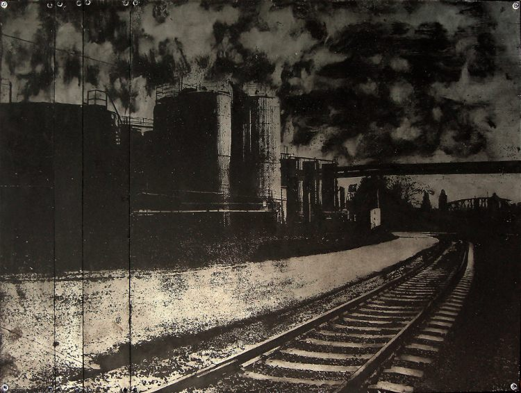 Acid etched art on steel panel of train tracks by artist Garrett Price
