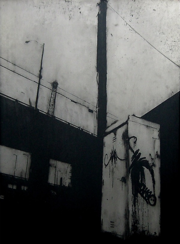 Acid etched art on steel panel of graffiti and industrial architecture by artist Garrett Price