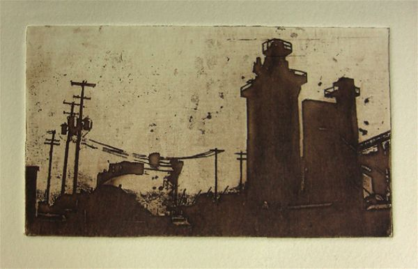 Intaglio print of industrial architecture by Portland, Oregon artist Garrett Price
