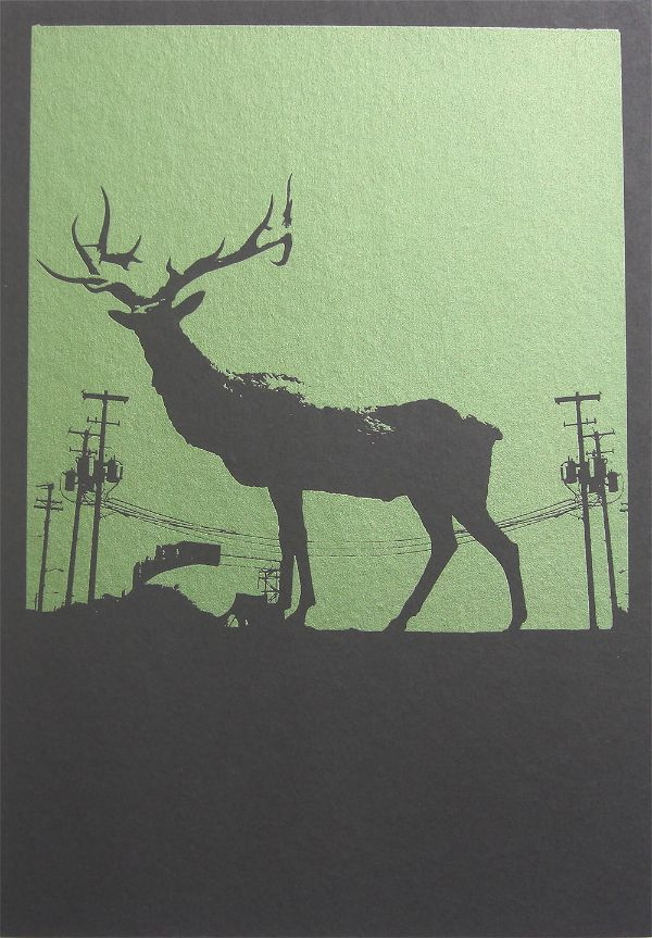 Screen print of industrial architecture and an elk by Portland, Oregon artist Garrett Price