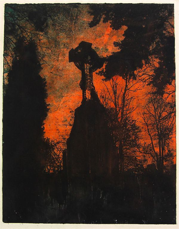 Intaglio/monotype print of a graveyard by Portland, Oregon artist Garrett Price
