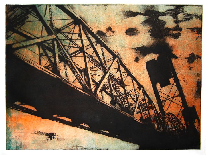 Intaglio and monotype print of the St. John's Train Bridge in Portland, Oregon by artist Garrett Price