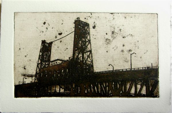 Intaglio print of the Steel Bridge in Portland, Oregon by artist Garrett Price