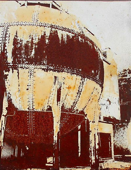 Rust art on steel panel by artist Garrett Price