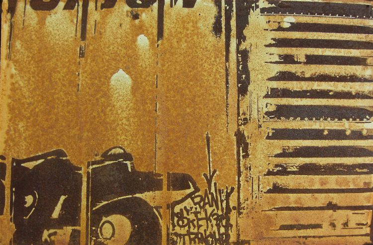 Train rust art on steel panel by artist Garrett Price