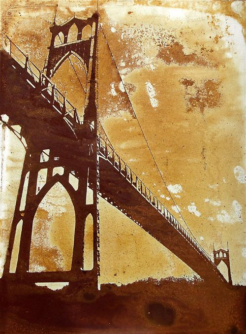 St. John's Bridge Portland, Oregon rust art on steel panel by artist Garrett Price